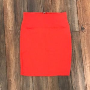 Bright coral pencil skirt